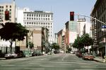 Downtwon Streets, stop lights, 8th street, cars, buildings, 1980s