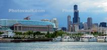 Burnham Harbor, Soldier Field, Willis Tower, Panorama, skyline, cityscape, buildings, skyscrapers, CLCD01_206