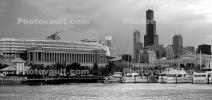 Burnham Harbor, Soldier Field, Willis Tower, Panorama, skyline, cityscape, buildings, skyscrapers, CLCD01_206BW