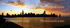 Wide Panorama of the Chicago Skyline at Sunset, Willis Tower, cityscape, buildings, skyscrapers, CLCD01_239B