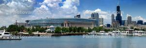 Burnham Harbor, Soldier Field, Panorama, skyline, cityscape, buildings, skyscrapers, CLCD02_114