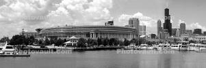 Burnham Harbor, Soldier Field, Panorama, skyline, cityscape, buildings, skyscrapers, CLCD02_114BW