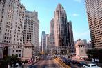 Tribune Tower, Michigan Avenue, Cars, vehicles, highrise, building, neo-gothic, landmark, automobiles, CLCV01P05_16.1727