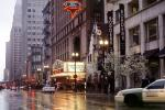 Chicago Theatre District, rain, inclement weather, slick, taxi, buildings, marquee, Cars, automobile, vehicles, CLCV04P12_04