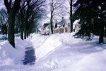 Sidewalk, Snow, suburbia, homes, houses, winter, July 1965, CLEV01P03_16