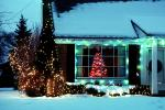 Home, House, Snow, Cold, Warren, night, nighttime, decorated, lights