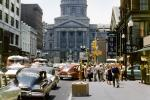 Downtown Indianapolis, cars, crowds, stores, Greyhound Bus Station, 1950s, CLNV01PO9_04B