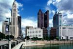 Scioto River, LeVeque Tower, Bridge, Huntington Tower, Riffe Tower, Downtown Riverfront, landmark, CLOV01P09_08