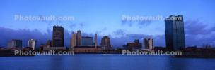 Toledo Skyline, Cityscape, building, skyscraper, Downtown, early morning, Maumee River
