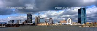 Toledo Panorama, Cityscape, skyline, building, skyscraper, Downtown, early morning, clouds, Maumee River
