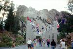 People, Flag Walkway, Columns, crowds, Mount Rushmore
