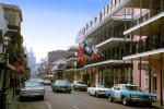 Balcony, Buildings, Road, Street, French Quarter, Cars, automobile, vehicles, 1950s, CMLV01P02_01