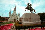 Jackson Square, Horse Statue, St. Louis Cathedral, Cathedral-Basilica of Saint Louis King of France, French Quarter, CMLV01P08_16.1729