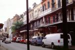 Vans, Street, Cars, Balcony, Guardrail, Building, French Quarter, CMLV01P12_04