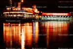 paddle wheel steamboat on the Mississippi River, Night, Nighttime, Exterior, Outdoors, Outside, CMMV01P08_09