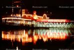 paddle wheel steamboat on the Mississippi River, Night, Nighttime, Exterior, Outdoors, Outside, CMMV01P08_11