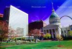 The Gateway Arch, Dome, Saint Louis Historical Old Courthouse, Cityscape, Buildings, Downtown, Exterior, Outdoors, Outside, Garden, CMMV01P10_10