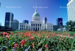 Saint Louis Old Courthouse, Dome, Downtown, Outdoors, Outside, Exterior, Garden, Lawn, Tulip Flowers