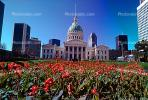 Garden, Lawn, Tulip Flowers, Saint Louis Old Courthouse, Dome, Downtown, Outdoors, Outside, Exterior