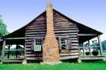 log cabin, Chimney, building, home, house, porch, CMSV01P03_13