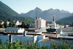 Skyline, Mountains, Church, Buildings, Sitka