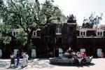 People, building, oak tree, Water Fountain, aquatics, Inglenook Winery, mansion, landmark, CNCV02P03_04