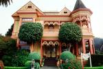 Gingerbread Mansion, Victorian Building, Gardens, Manicured Bushes, Shrubs, CNCV02P08_11