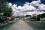 Clouds, cumulus, main street, buildings, shops, Highway 395, cars, Bridgeport