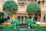 Gingerbread Mansion, Victorian Building, Gardens, Manicured Bushes, Shrubs, CNCV05P13_17