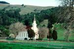 Nicasio chapel, building, hills, Marin County