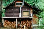 firewood, building, house, home, chimney