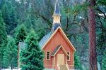 Yosemite Valley Chapel, church, steeple, trees, forest, CNCV06P12_16