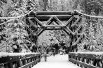 Old Wooden Bridge, Nisqually River wooden Suspension Bridge, Longmire village, Mount Rainier National Park, Equanimity