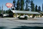 Lazy-G Motel, Station Wagon, Log Cabins, West Yellowstone, Montana, AAA, August 1965, 1960s