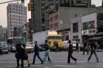 Sixth Avenue, crosswalk, Greenwich Village, Manhattan, Cab-over Truck, Cab Forward, Bus