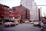 Taxi cab, cars, street, traffic light, buildings, Manhattan, Automobile, Vehicle, signal light