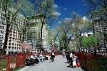 Union Square Park, buildings, statue, spring, springtime, trees, Manhattan, CNYV01P14_07