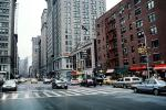 Crosswalk, street, cars, buildings, Manhattan