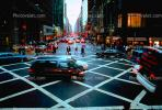 Crosswalk, cars, van, rainy evening, autumn, buildings, shops, stores, automobile, vehicles, CNYV06P08_14.1736