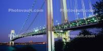 Verrazano Narrows Bridge, Interstate Highway I-278, Suspension Bridge, Panorama, Twilight, Dusk, Dawn, CNYV07P09_02B