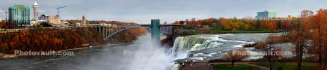 Waterfall, bridge, elevator tower, Skylon Tower, Panorama, City of Niagara Falls, CNZD01_056