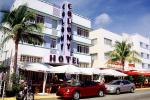 Colony Hotel, Art-deco building, cars, palm trees, awning, COFV02P15_11