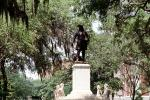 General James Oglethorpe Statue, Bronze Sculpture, hanging moss, trees, Chippewa Square, Historic Savannah