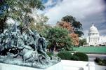 United States Capitol, statue, trees, Grant Memorial, General Ulysses S. Grant Memorial