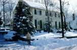 Snow, Cold, Ice, Icy, Snowy, Winter, home, house, single family dwelling unit, chimney, residence, Cars, automobile, vehicles, 1950's