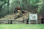 Catharine Furnace, historic iron furnace, ruin, fence, Fredericksburg, Spotsylvania National Military Park