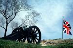 Cannon, British Flag, Revolutionary War Battlefield, American Revolution, Battlefield, History, Historical, Yorktown, Revolutionary War, War of Independence, artillery, gun, COVV03P06_09