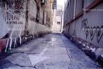 arrow, direction, directional, alley, alleyway, buildings