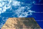 glass, reflection, building, clouds