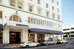 The Leamington Hotel, entrance, cars, building, 1980s